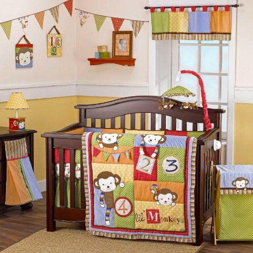 (4 Lil' Monkeys 6 Piece Infant to Toddler Crib Bedding Set by Cocalo)
