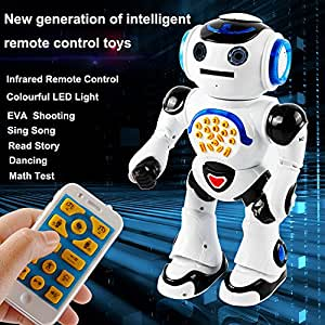 RC Robot Toy, Remote Control Walking, Talking, Dances, Sings, Reads Stories, Math Quiz, Shooting Discs, and Voice Mimicking For Kids Preschooler Entertainment Toys Gift,by MKLOT