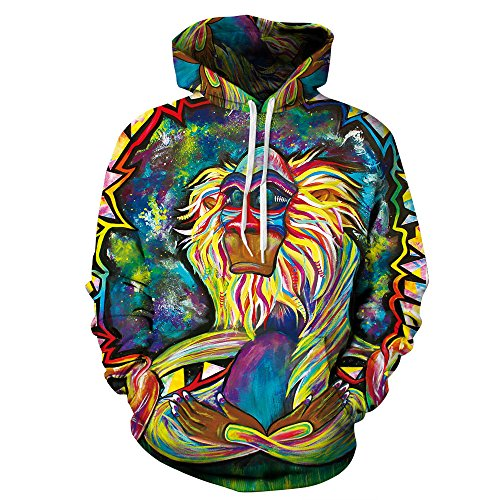 (Urmycos Unisex Monkey 3D Printed Casual Pullover Hoodie With Big Pockets L)