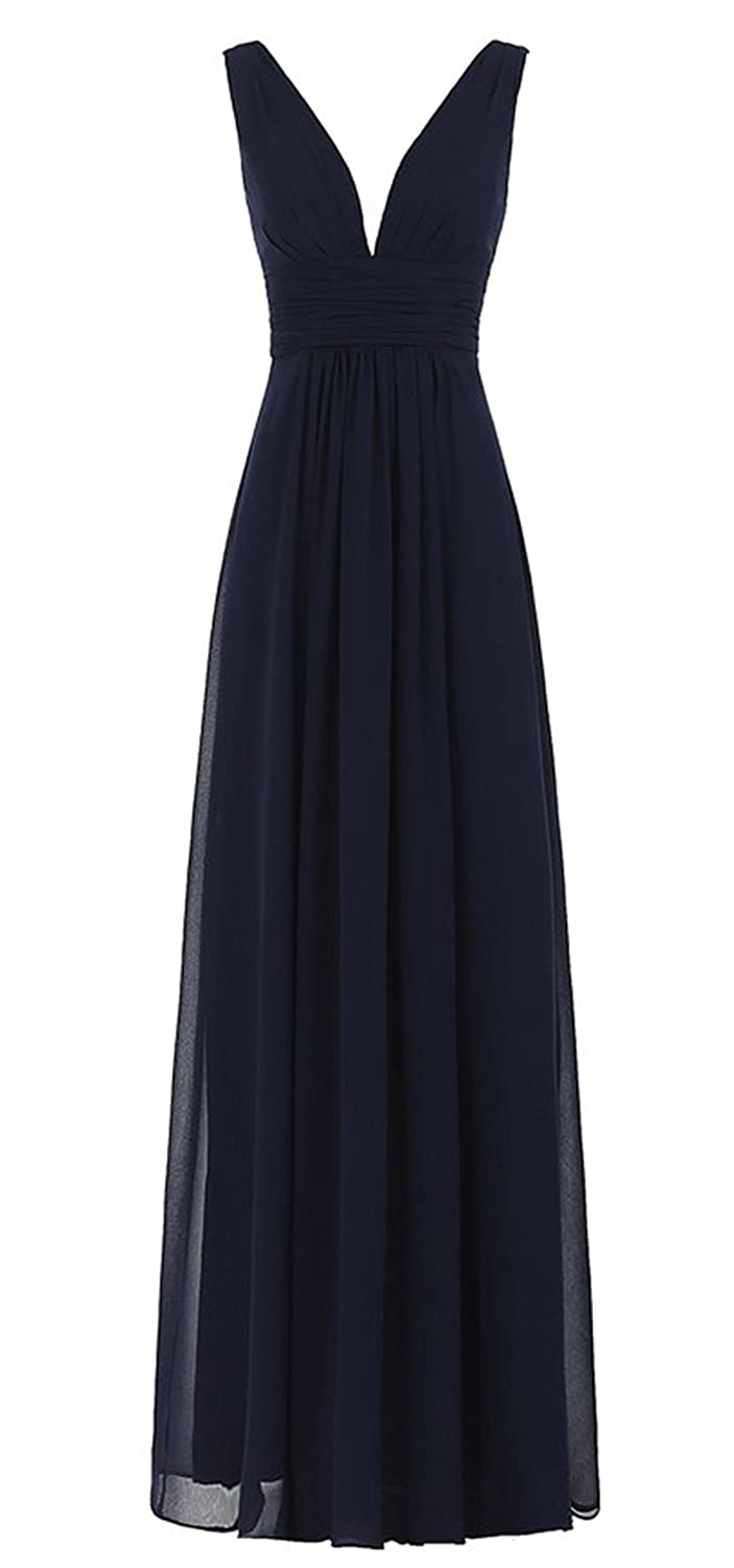 HelloGirls Women's Sexy V-Neck Ruched Waist Long Prom Evening Gown Bridesmaid Dress