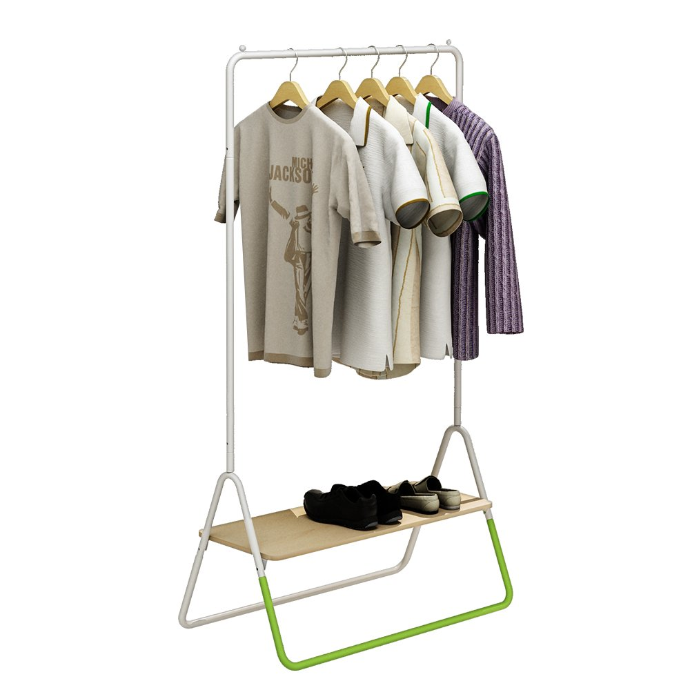 Creatwo Garment Rack with Wood Shelf Portable Metal Clothes Rack Laundry Clothes Drying Rack, White/Green