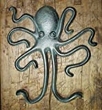 Heavy Cast Iron Octopus Towel Hanger Coat Hooks Hat Hook Key Rack Nautical Huge
