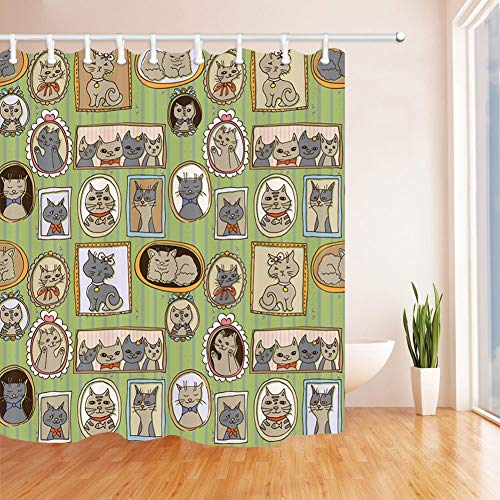 Ashasds Shower Curtain, Lovely Cat Playful Hipster and Cats with Glasses Pattern Lovely Memories Curtain Polyester Water Fabric with 12 Hooks,72 x 72 Inches (Lovely Lattice Shower Curtain)