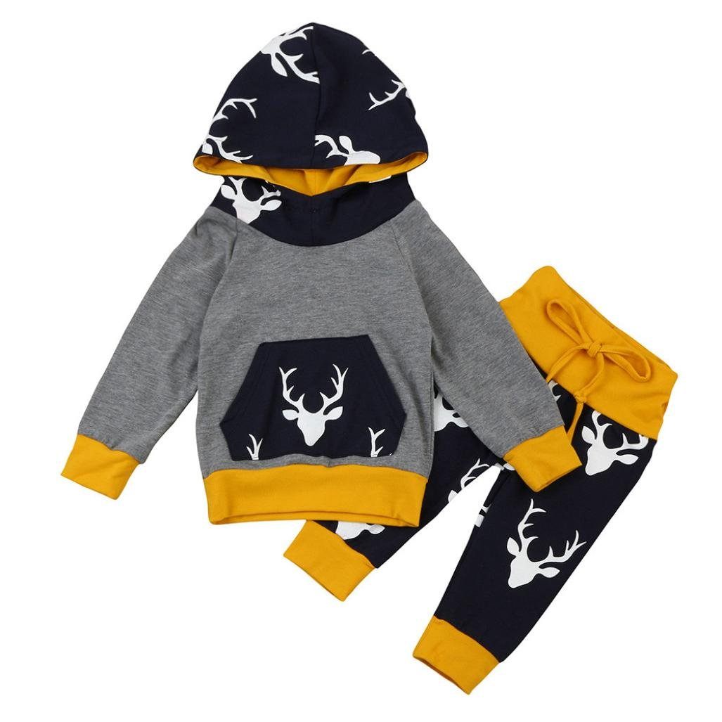 Boys Clothing Sets, SHOBDW 2PCS Newborn Infant Baby Boy Girl Cool Deer Hoodie Tops + Pants Outfits Clothes Set SHOBDW-029