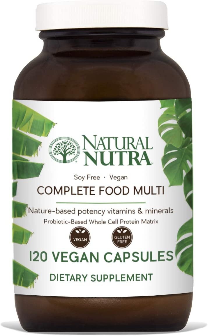 Natural Nutra Whole Food Complete Multivitamin and Mineral with Probiotics for Women and Men, Vegan and Vegetarian, Raw Fruits and Vegetables, Green Foods, Herbs and Antioxidants, 120 Capsules