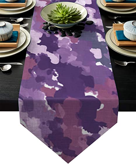 Amazon Com Zadaling Independence Day Cotton Rectangle Table Runner Camouflage Netting Camo Purple Non Slip Linen Family Dinners Outdoor Parties Wedding Everyday Decorations 18x72 Inch Home Kitchen