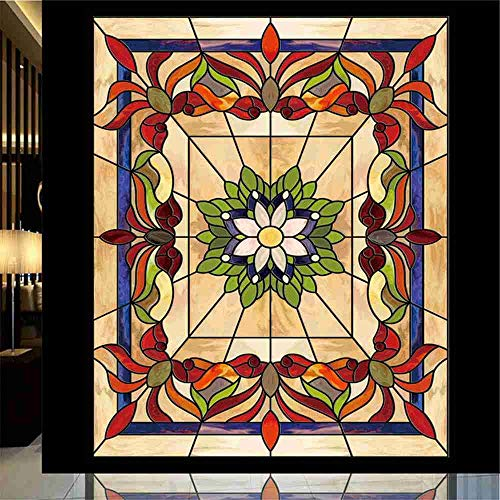 - Robert Window sticker Lotus Flower Static Cling Church Stained Glass Window Film for Balcony Sliding Door Wardrobe Furniture Foil,90x200cm(35.4〃x78.7〃)