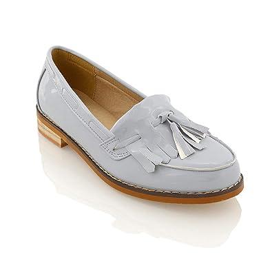 4580b5672a2 ESSEX GLAM Womens Flat Loafers Casual Black Ladies FRINDGE Tassel Work  School Pumps Shoes (UK