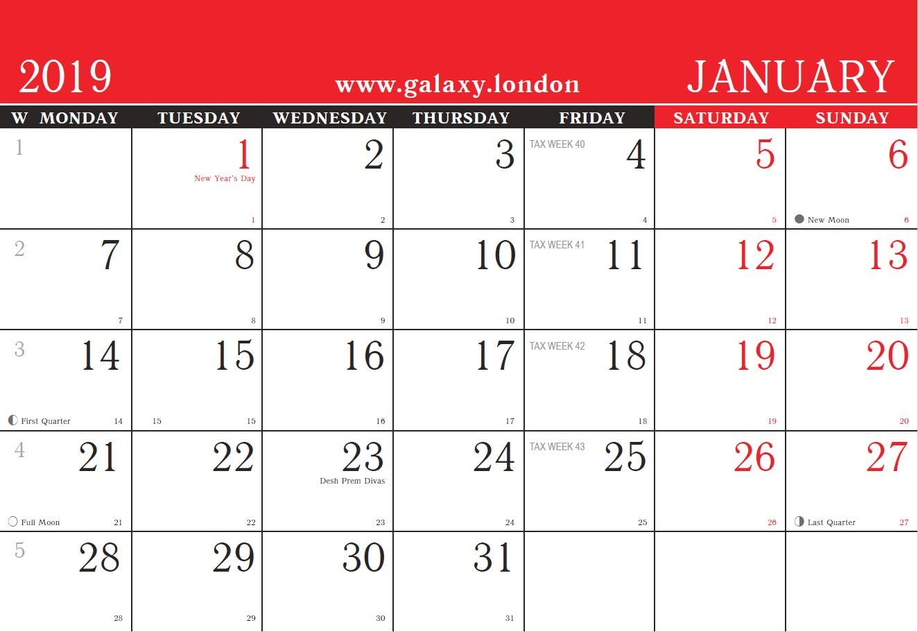 One Calendar.2019 One Month To View Black Red Uk Free Standing Desk Office Table Calendar