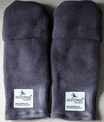 WhitePaws Two Ply Velour Polar Tec Running Mitten- Grey- Sizes Large (Pack of 5 Pair) by WhitePaws RunMitts