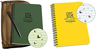 "product image for Rite In The Rain Weatherproof Side Spiral Kit: Tan CORDURA® Fabric Cover, 4.625"" x 7"" Green Notebook, 8.5 x 5.5 x 0.625 & 373L Rite in the Rain All-Weather Side-Spiral Notebook, 4 5/8"" x 7"""