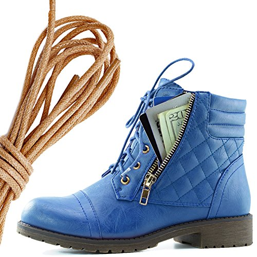 DailyShoes Womens Military Lace Up Buckle Combat Boots Ankle High Exclusive Credit Card Pocket, Brown Blue Pu