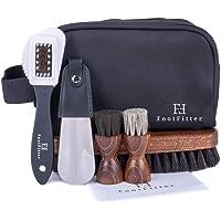 FootFitter Men's Travel Shoe Care Set - Cleaning/Polishing Brushes, Shoehorn, Shine Cloth, Travel Bag!