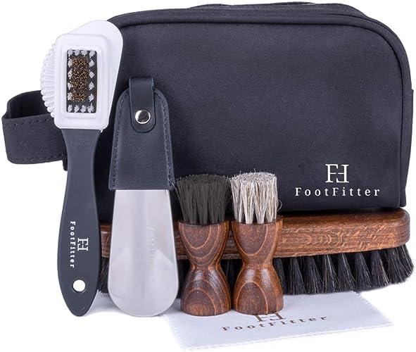 FootFitter Men's Travel Shoe Care Set CleaningPolishing Brushes, Shoehorn, Shine Cloth, Travel Bag!