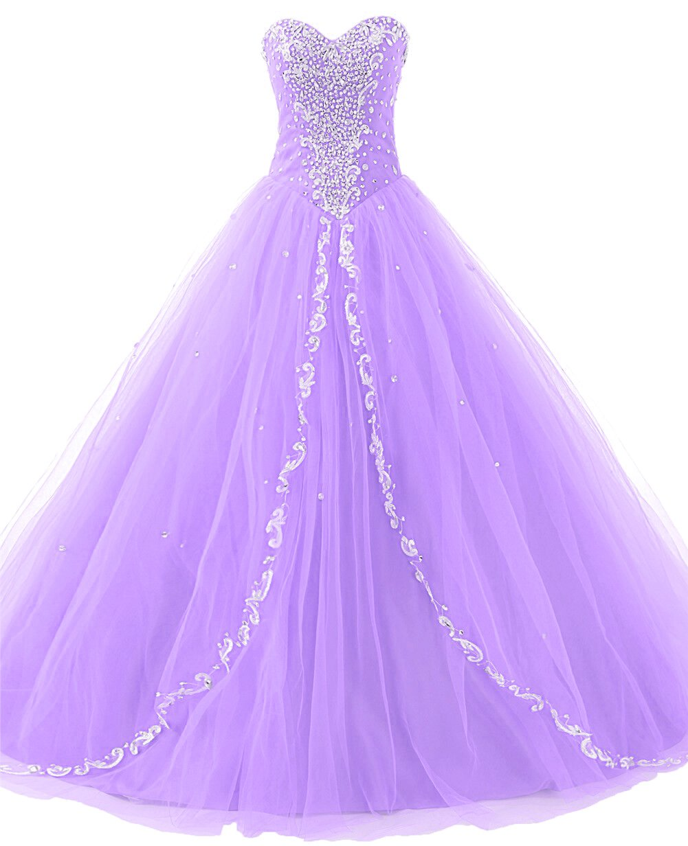 JAEDEN Wedding Sweetheart Long Quinceanera Dresses Formal Prom Dresses Ball Gown Lilac US18W