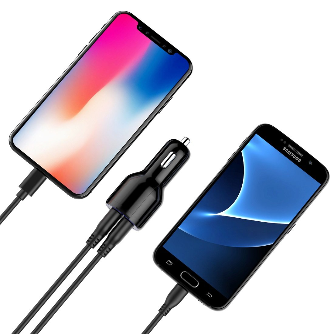 3ft Micro USB Cable Combo Note 5//4 LG Galaxy S8//S7//Edge//Plus Dual USB Fast Car Adapter for iPhone X//8//7//6S//Plus Haloking Car Charger HTC Nexus Black 4332952749
