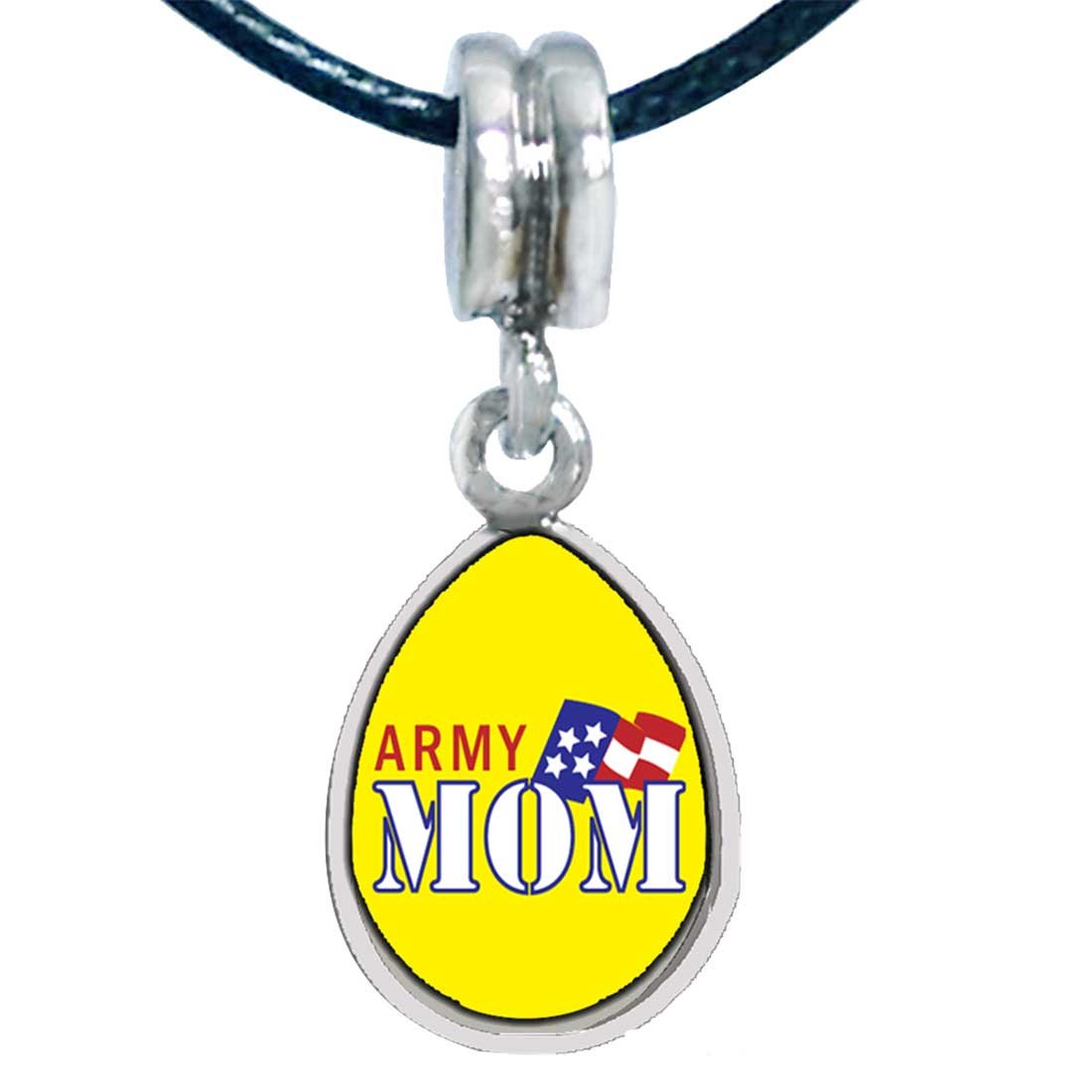 GiftJewelryShop Silver Plated American Army Mom Photo Angel Tears Bead Charm Bracelets