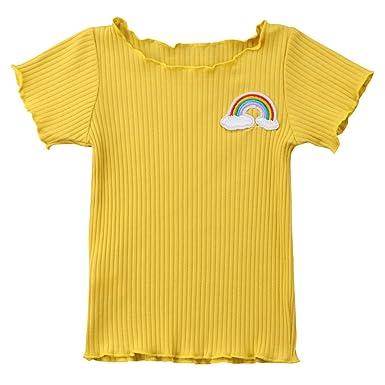 187b4aa7122ec Sylvamorning 子供服 ガールズtシャツ 半袖 女の子 Tシャツ 女児 トップス 無地 ブラウス 可愛い ガールズ