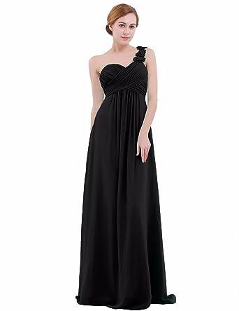 e9fd54e2084 iEFiEL Womens One-Shoulder Chiffon A-line Bridesmaid Dress Long Evening  Prom Gown  Amazon.co.uk  Clothing