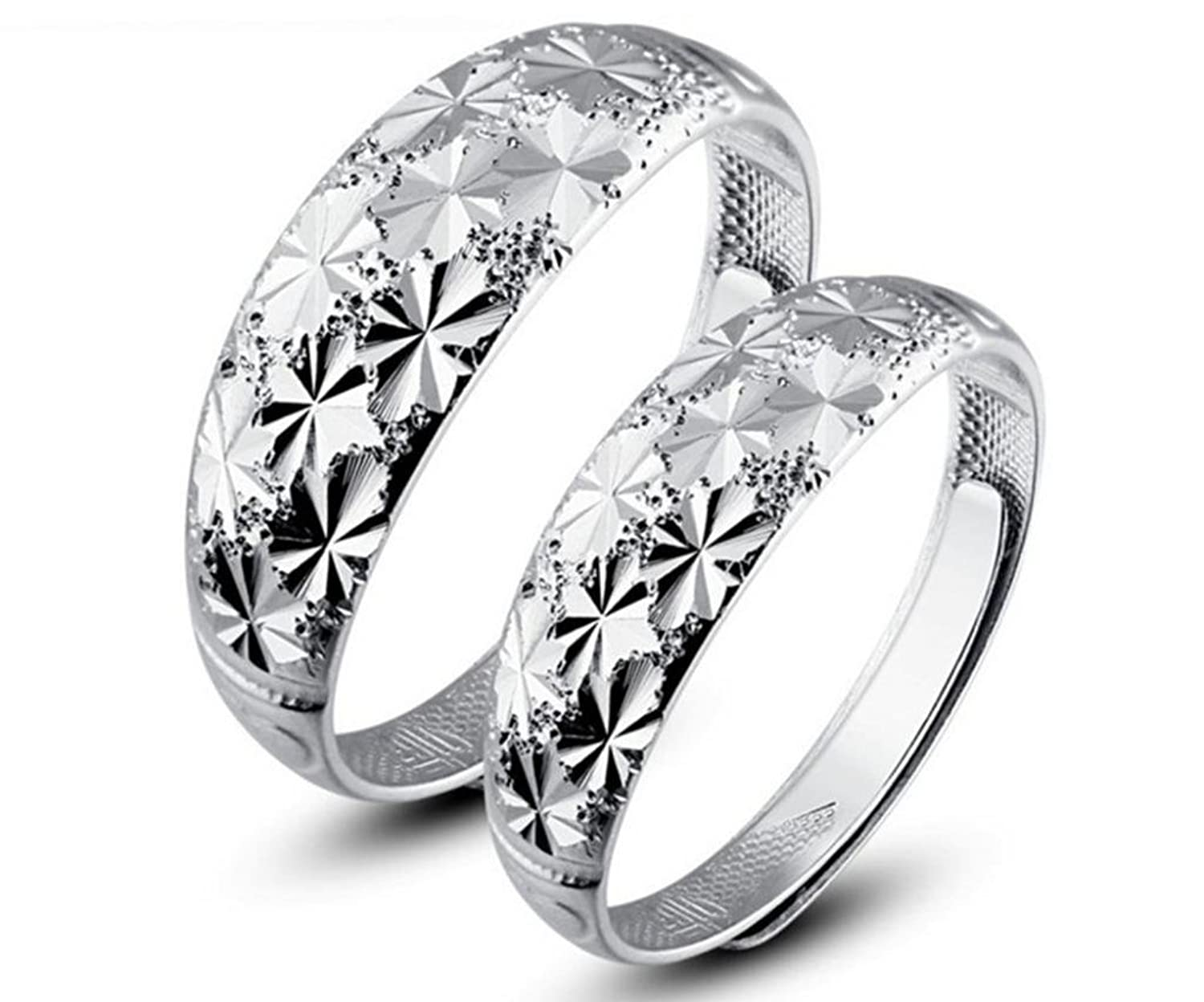 Infinite U 925 Sterling Silver Snowflake CouplesLovers Adjustable