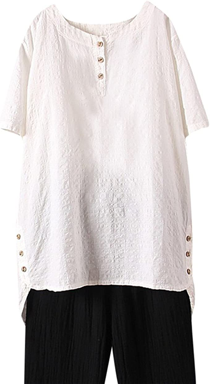 HYIRI Blusa Elegante con Cuello Redondo y Botones de Lino para Mujer - Blanco - 2X-Large: Amazon.es: Ropa y accesorios