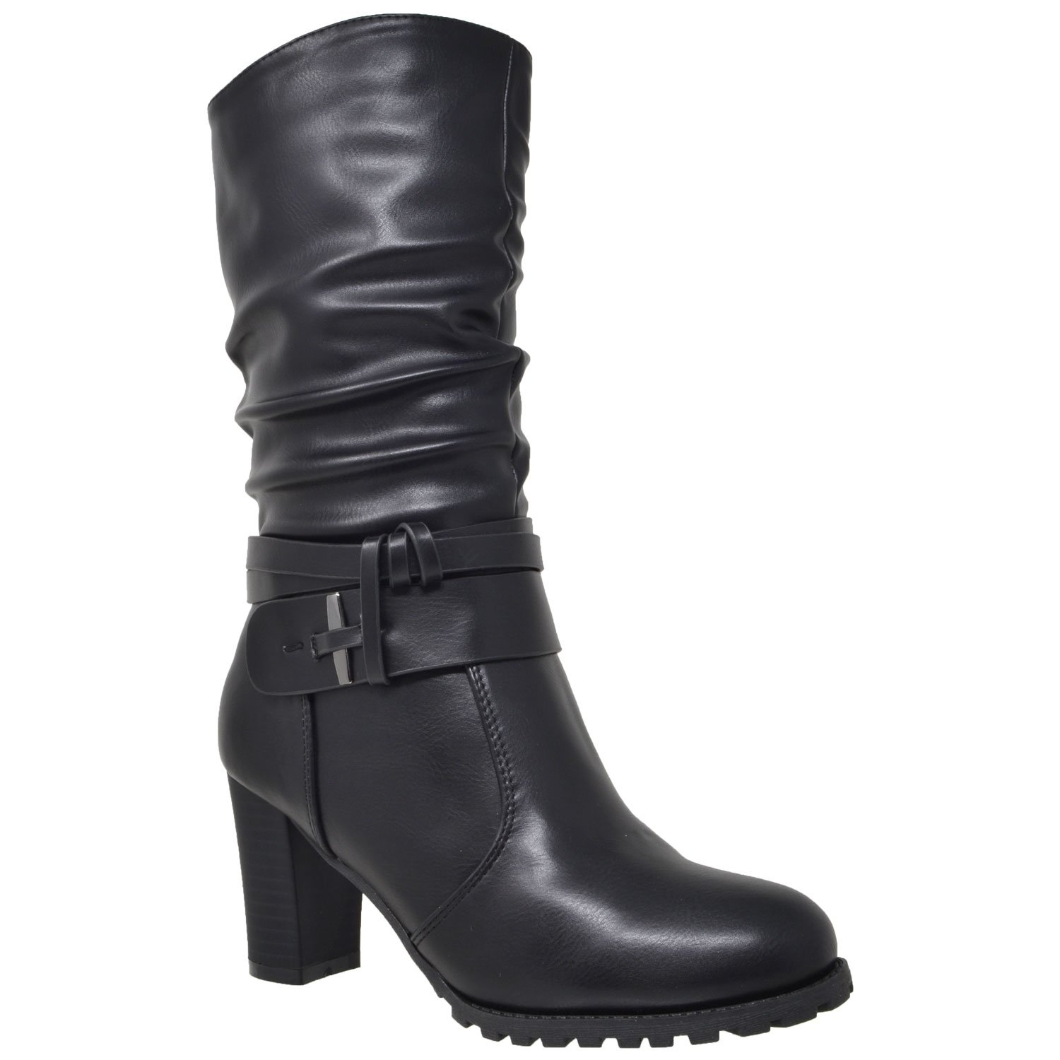 Generation Y Womens Mid Calf Boots Faux Leather Ruched Strappy Stacked Block Heel Shoes Black SZ 6