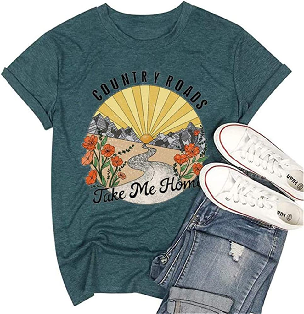 Country Road Take Me Home Shirt Women Vintage Graphic Tee Country Music Short Sleeve Camping T Shirt