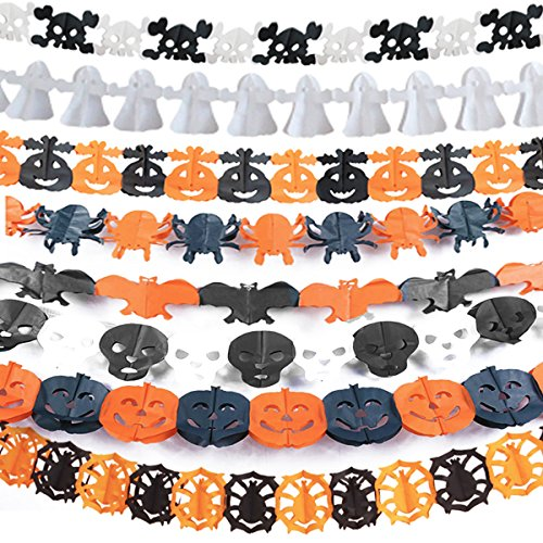 Costumes For Different Holidays (Koogel 8 Pcs Different Halloween Paper Garland Decoration Holiday Party ,Halloween Hanging Paper Garland Kit,Pumpkin Bat Ghost Spider Skull Shape)