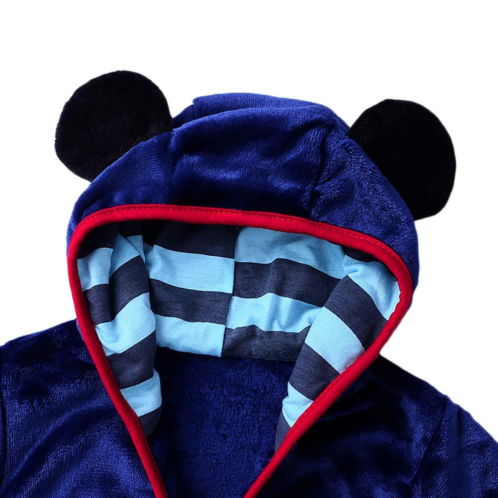 YAGATA Baby Boys Girls Bath Towel Cute Hooded Soft Plush Flannel Fleece Home Dressing Gown