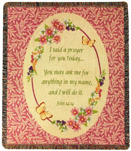 - Manual Inspirational Collection 50 x 60-Inch Tapestry Throw with Verse, Today's Prayer,