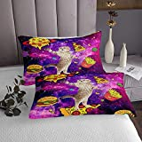 Cat Pizza French Bed Sheet Set Twin Lilac Sky