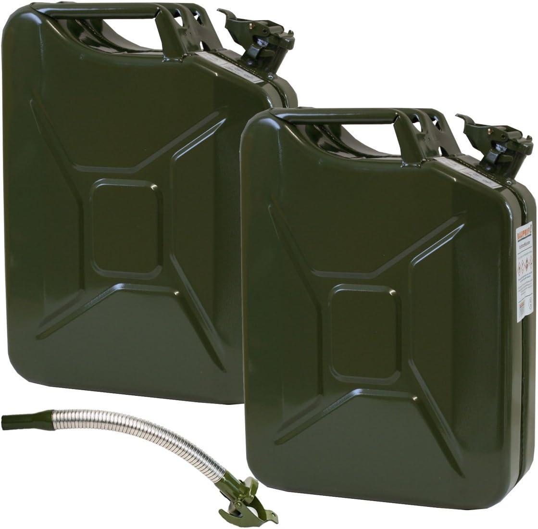 2er Set 2 Stahlblechkanister In Oliv Mit Je 20 Liter Inklusive Auslaufstutzen Auto