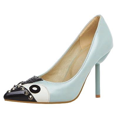 Agodor Damen High Heels Spitze Pumps mit Nieten und Spitze Stiletto Elegante Schuhe