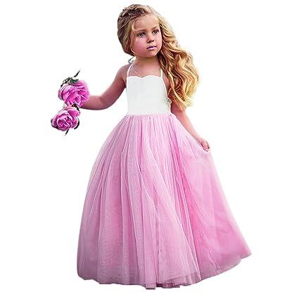 domybest bebé niñas tutú vestidos algodón sin mangas de malla vestido de princesa de boda fiesta