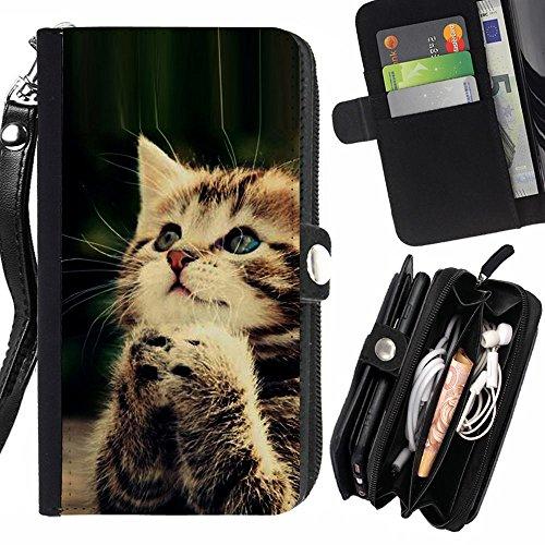 STPlus Gato en una caja Animal Monedero Con Correa y Cremallera Carcasa Funda para Sony Xperia E5 #15