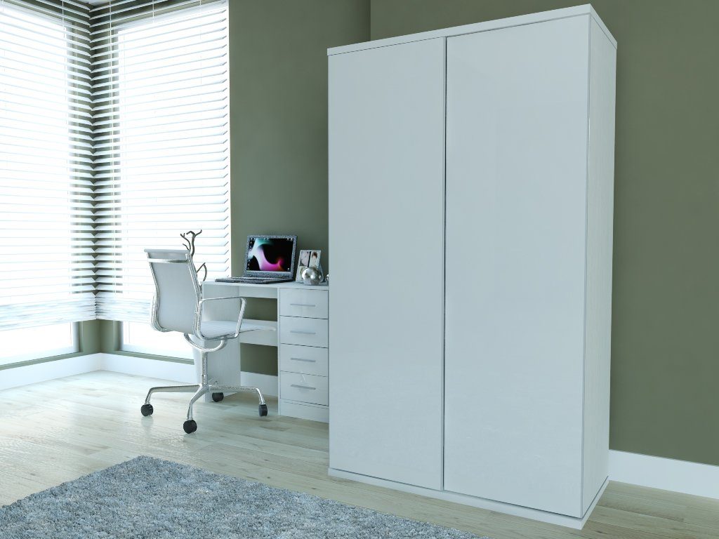 New Super High Gloss 2 Door Sliding Double Wardrobe In White Amazon