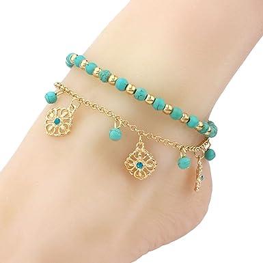 bracelet cheville pompon