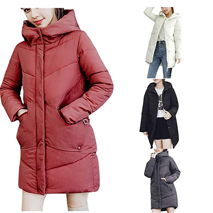 Amazon.com: DICPOLIA Womens Thick Hooded Down Jacket Coat ...