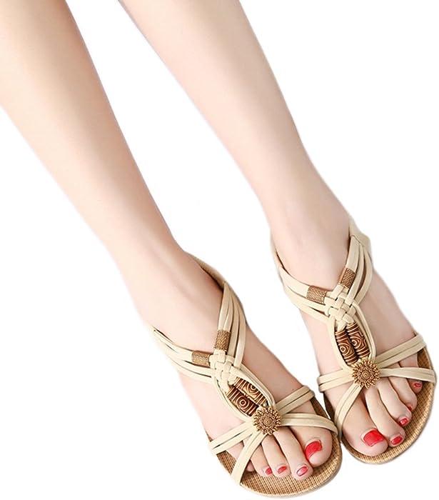 83ecc7917aca Women s Open Toe Sandals Bohemian Beaded Slingback Woven Rope Beach Shoes