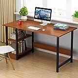 家用带书柜电脑桌寝室双层书架台式电脑桌简易经济型办公桌卧室小桌子学生作业桌写字桌 (古檀木色, 100cm(宽度40高度72))