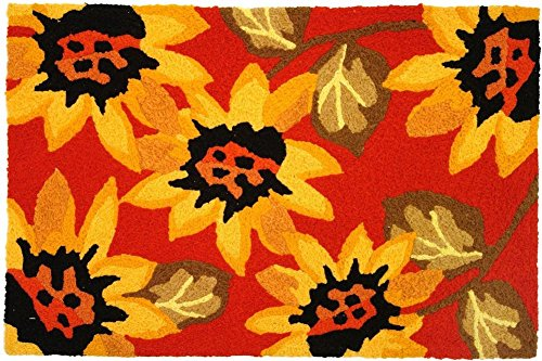 Jellybean Sunflowers on Red Accent Area Rug