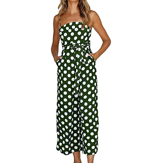 829866d5c1c Summer Spring Womens Polka Dot Holiday Jumpsuit Elegant Sexy Clubwear Wide  Leg Long Backless Strappy Pants