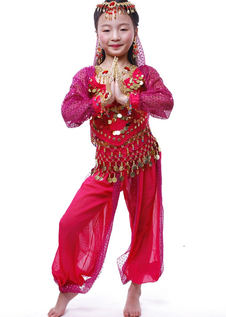 Girl Long Sleeve Belly Dance Fitness Wear Indian Dance Costume All Accessories