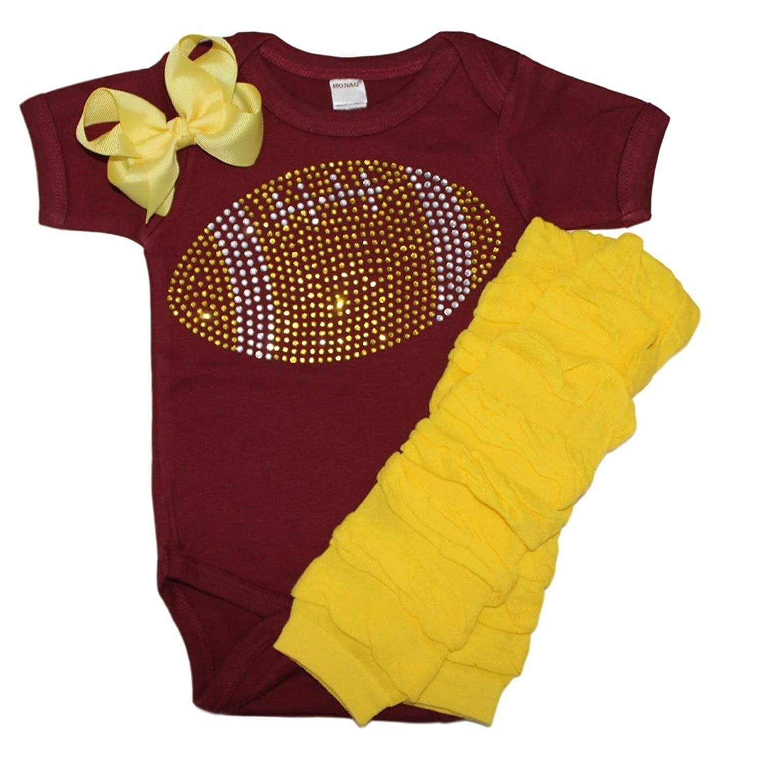 Amazon Baby girl s Maroon & Yellow School Team Color Rhinestone