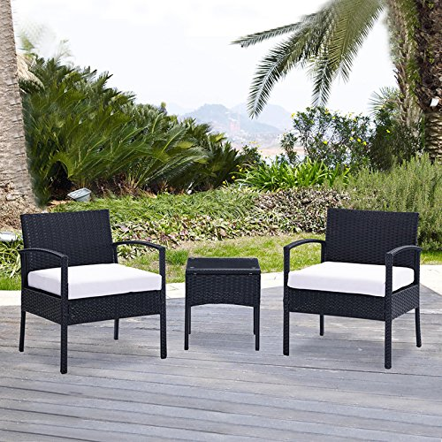 Uenjoy 3PC Outdoor Rattan Wicker Patio Furniture Set Cushioned Sofa & Table Garden Lawn Black