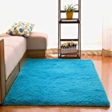 Kitchen Rugs Bright Colors OJIA Deluxe Home Decorative Soft Shag Area Rug for Living Room Bedroom Parlor Kitchen Floor (32 x 48 Inch, Blue)