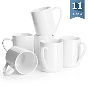 Sweese 603.001 Porcelain Coffee Mug Set - 11 Ounce for Coffee, Tea, Cocoa and Mulled Drinks - Set of 6, White