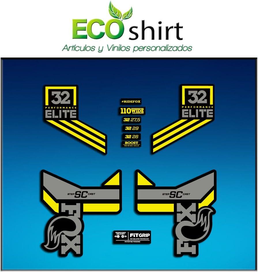 Ecoshirt B8-5ITL-Y2VB Sticker Stickers Fork Fox 32 SC Elite Performance 2017 Am85 Aufkleber Decals Autocollants Adesivi Forcela Gabel grau gelb