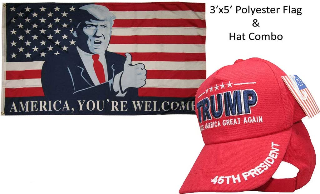 3x5 Donald Trump For President Make America Great Again Red Hat /& Flag Set 3/'x5/'