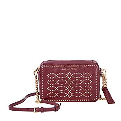 50c1f243e779 Michael Kors Ginny Medium Studded Leather Crossbody- Oxblood ...